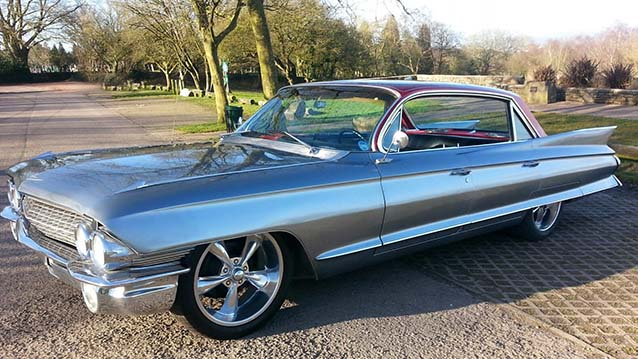 Cadillac De Ville wedding car for hire in Newport, South Wales