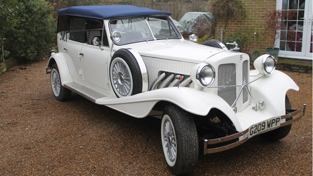 Beauford Convertible wedding car for hire in Maidstone, Kent