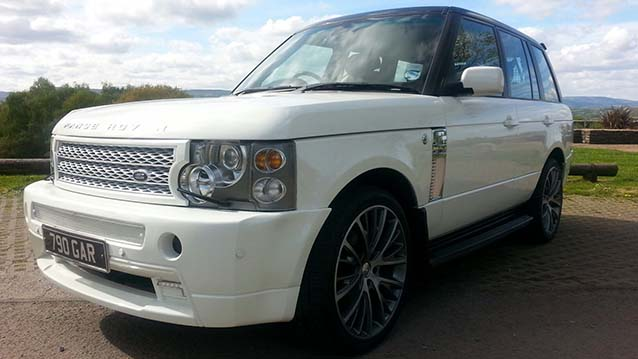 white range rover vogue wedding car hire in newport and. Black Bedroom Furniture Sets. Home Design Ideas