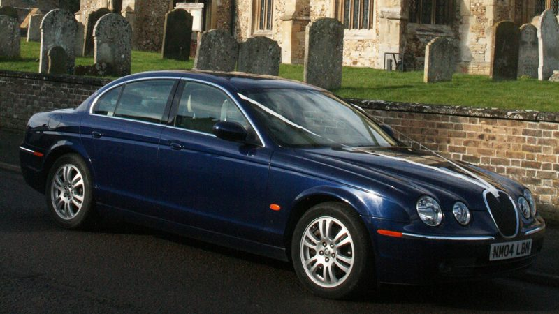 Jaguar 'S' Type wedding car for hire in Royston, Hertfordshire