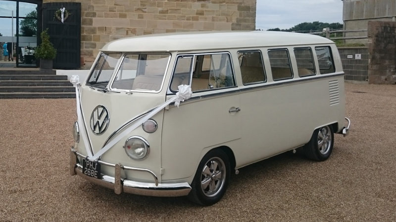 Volkswagen Split Screen Campervan wedding car for hire in Plymouth, Devon