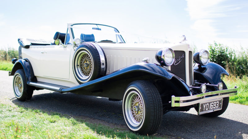 Beauford Convertible wedding car for hire in Shefford, Bedfordshire