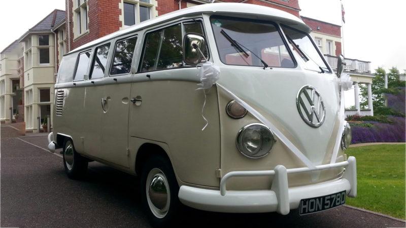 Volkswagen Split Screen Campervan wedding car for hire in Newport, South Wales