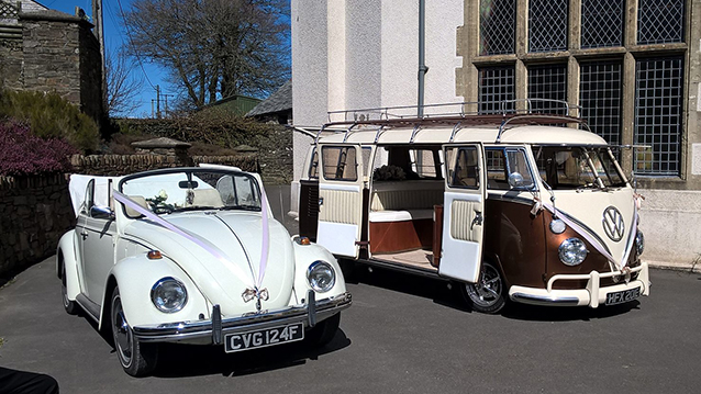 Volkswagen Split Screen Camper Van wedding car for hire in Barnstaple, Devon