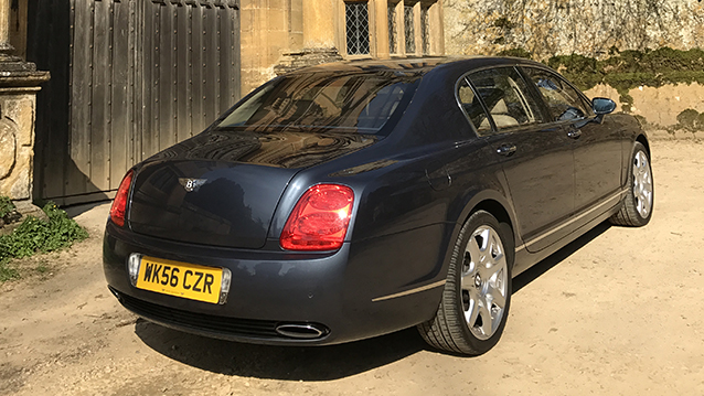 Bentley Continental Flying Spur wedding car for hire in Tewkesbury, Gloucestershire