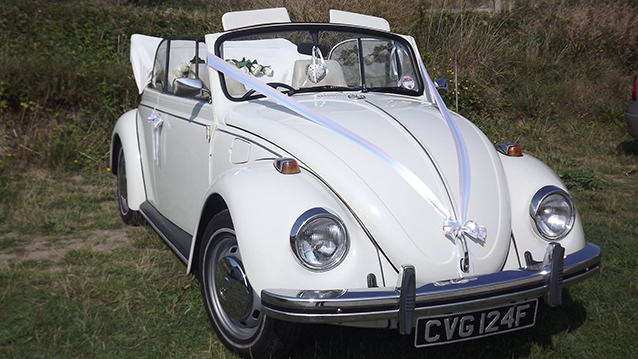 Volkswagen Beetle Karmann Convertible wedding car for hire in Barnstaple, Devon