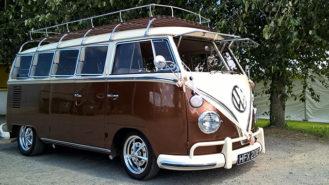 Volkswagen Split Screen Camper Van wedding car for hire in Barnstaple, Devon