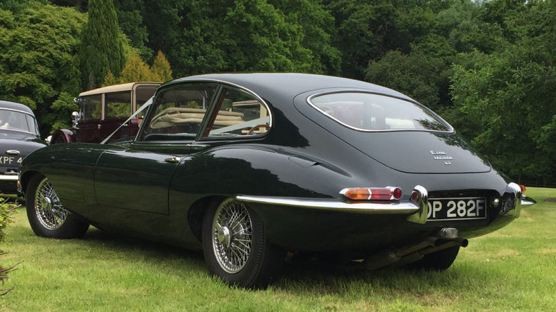 Jaguar E-Type 4.2L wedding car for hire in Ringwood, Hampshire