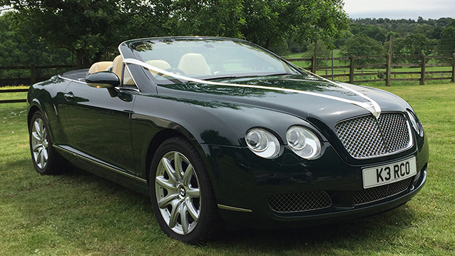 Bentley Continental GT Convertible wedding car for hire in Ringwood, Hampshire