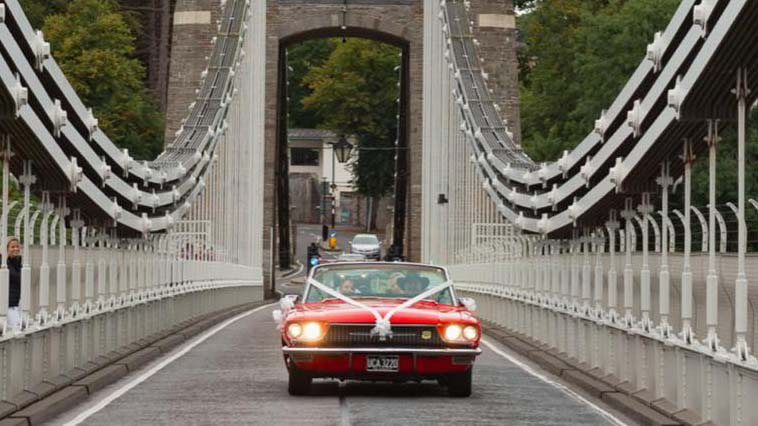 Ford Thunderbird Convertible wedding car for hire in Bristol