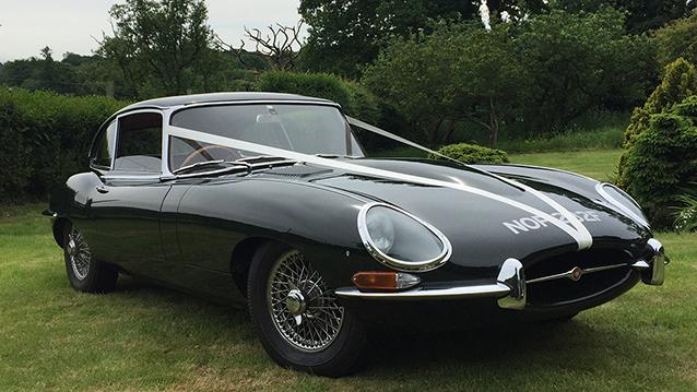 Jaguar E-Type 4.2L wedding car for hire in Ringwood, Hampshire