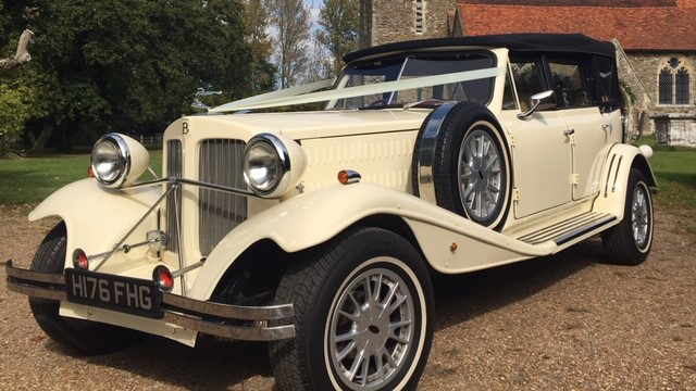 Beauford Convertible wedding car for hire in Burgess Hill, West Sussex