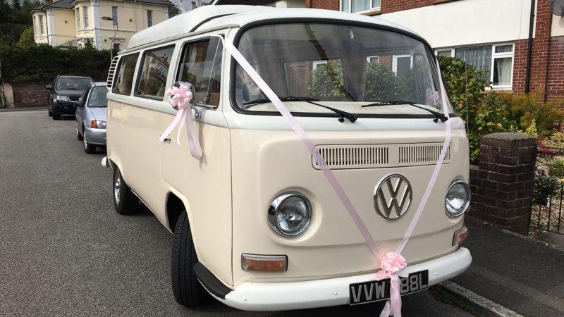Volkswagen Bay Window Campervan wedding car for hire in Exeter, Devon