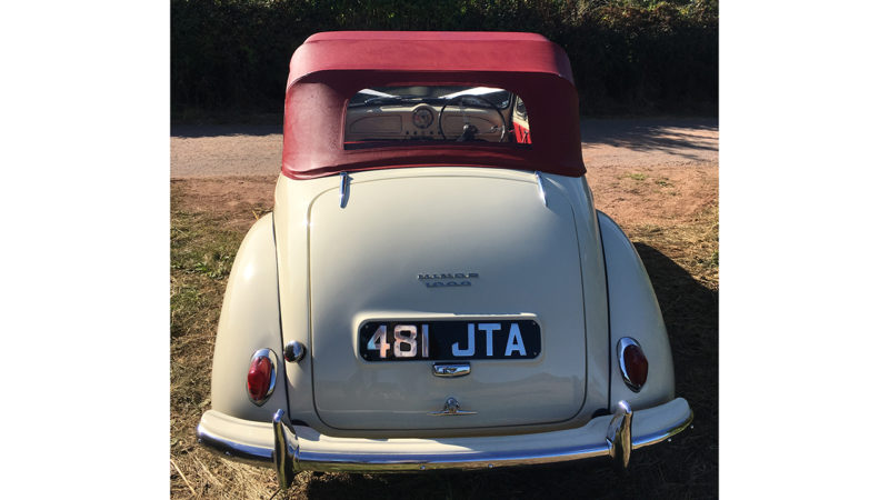 Morris Minor Convertible wedding car for hire in Usk, South Wales