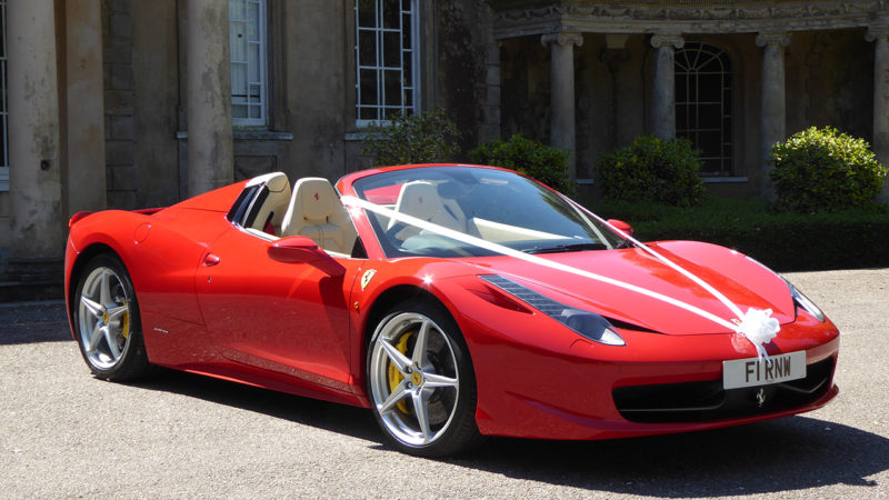 Ferrari 458 Spider wedding car for hire in Bournemouth, Dorset