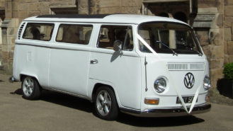 Volkswagen Bay Window Campervan wedding car for hire in Lanchester, Durham