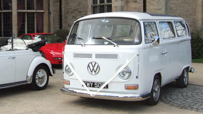 Volkswagen Bay Window Campervan wedding car for hire in Lanchester, Durham