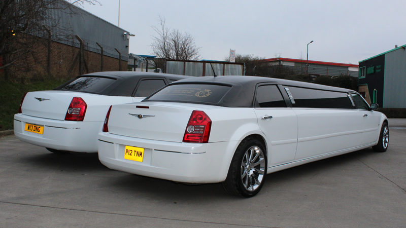 white stretched chrysler 300c limousine wedding hire in. Black Bedroom Furniture Sets. Home Design Ideas