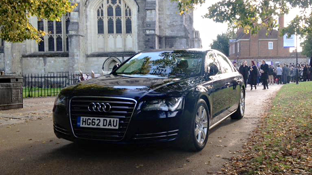 Audi A8 LWB wedding car for hire in Lyndhurst, Hampshire