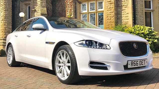 Jaguar XJ LWB wedding car for hire in Bradford, West Yorkshire