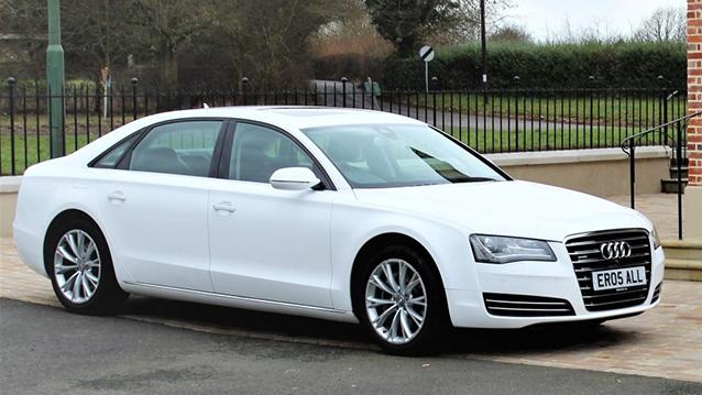 Audi A8 LWB wedding car for hire in Sevenoaks, Kent