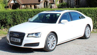 Audi A8 LWB wedding car for hire in Sevenoaks, Kent