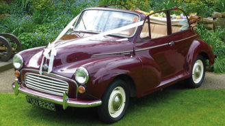 Morris Minor Convertible wedding car for hire in Battle, East Sussex