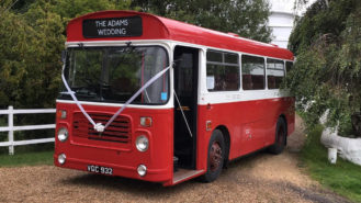 Bristol LHS Bus wedding car for hire in Usk, Monmouthshire