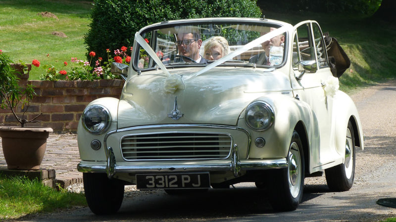 Morris Minor Convertible wedding car for hire in Eastbourne, East Sussex