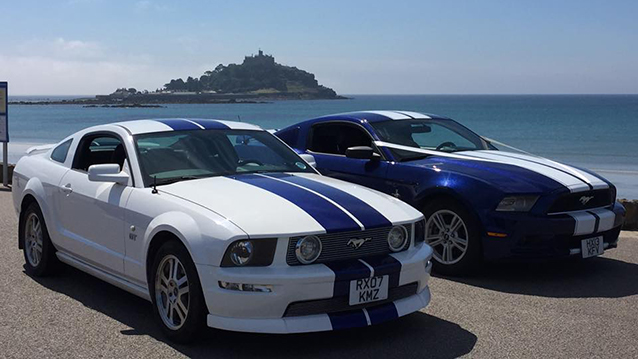 Ford Mustang 5.0L V8 wedding car for hire in Truro, Cornwall