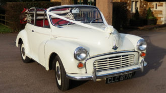 Morris Minor 1000 Convertible wedding car for hire in Leicester, Leicestershire