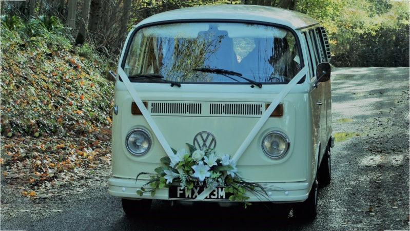Volkswagen Bay Window Campervan wedding car for hire in Burgess Hill, West Sussex