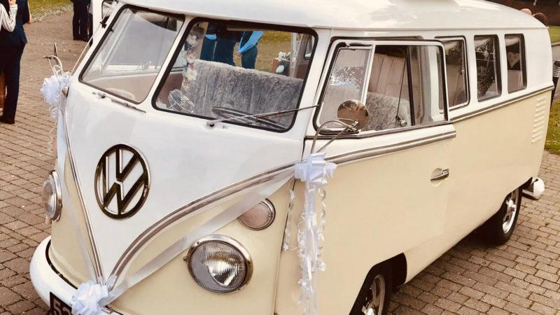 Volkswagen Splitscreen Campervan wedding car for hire in Chelmsford, Essex