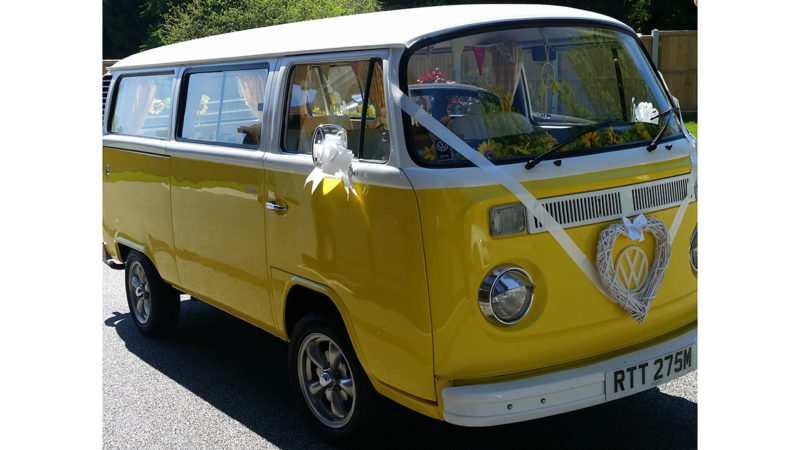 Volkswagen Bay Window Campervan wedding car for hire in Folkestone, Kent