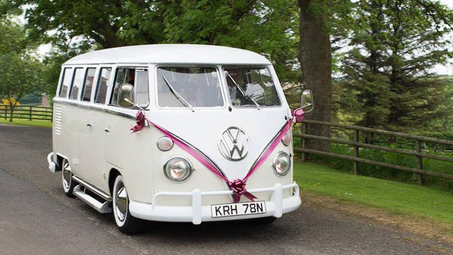 Volkswagen Split Screen Campervan wedding car for hire in Ayr, Ayrshire