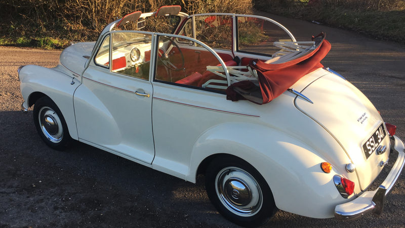 Morris Minor 1000 Convertible wedding car for hire in Bournemouth, Dorset