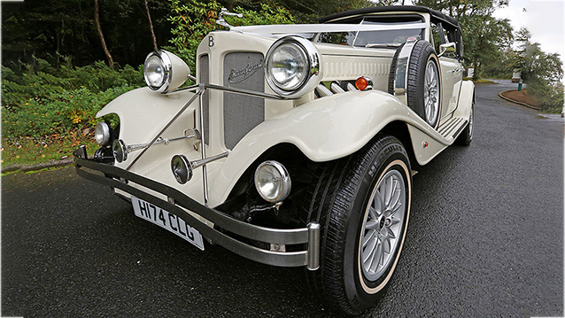 Beauford 4 Door Convertible LWB wedding car for hire in Ayr, Ayrshire