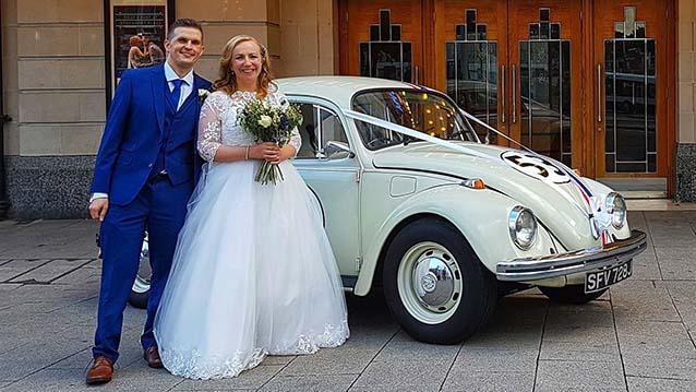 """Volkswagen Beetle """"Herbie"""" wedding car for hire in Leeds, West Yorkshire"""