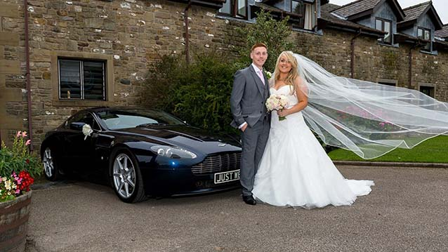 Aston Martin V8 Vantage wedding car for hire in Leeds, West Yorkshire