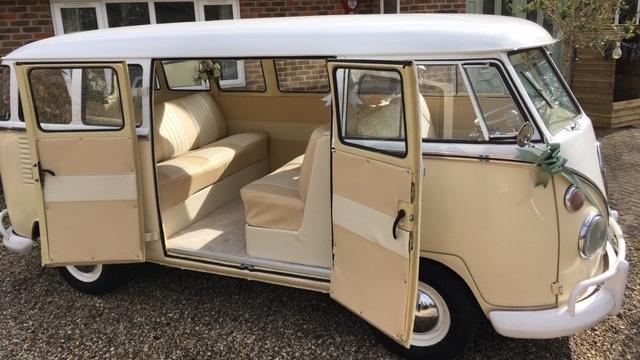 Volkswagen Splitscreen Campervan wedding car for hire in Burgess Hill, West Sussex