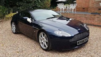 Aston Martin V8 Vantage wedding car for hire in Leeds, West Yorkshire