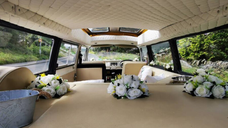Volkswagen Bay Window Campervan wedding car for hire in Leeds, West Yorkshire