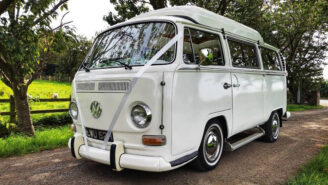 Volkswagen Bay Window Campervan wedding car for hire in Leeds, West Yorkshire