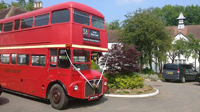 Routemaster London Bus wedding car for hire in Northampton, Northamptonshire