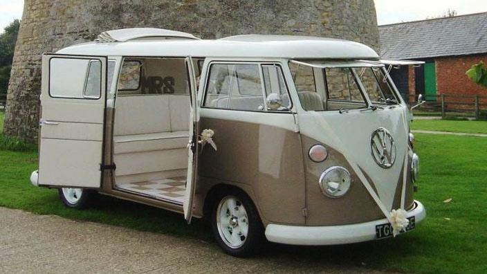 Volkswagen Split Screen Campervan wedding car for hire in Milton Keynes, Buckinghamshire