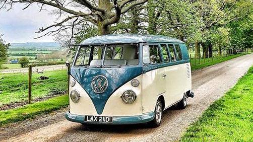 Blue and White VW campervan wedding hire