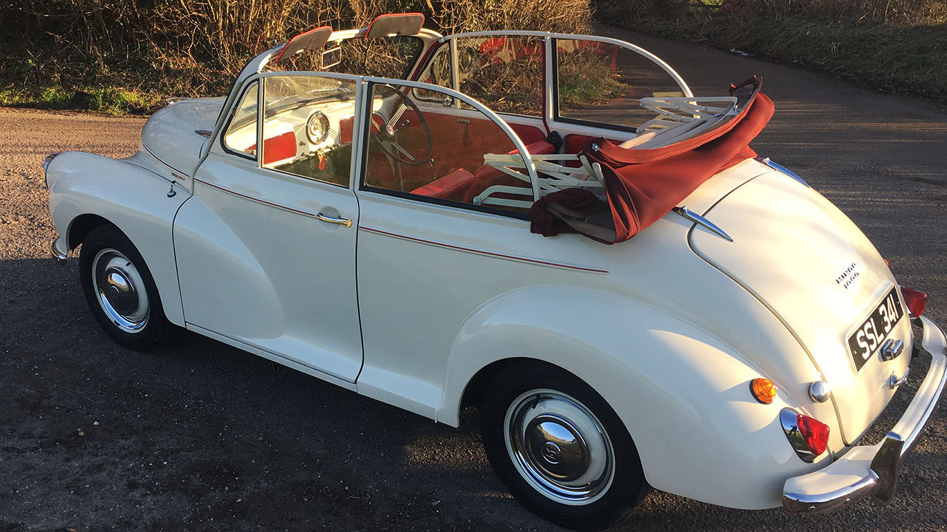 classic convertible Morris Minor wedding car hire