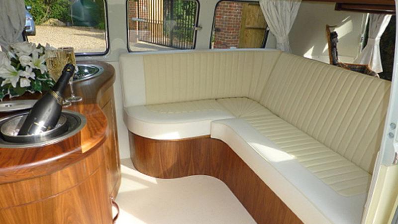 Volkswagen Split Screen Campervan wedding car for hire in Bracknell, Berkshire