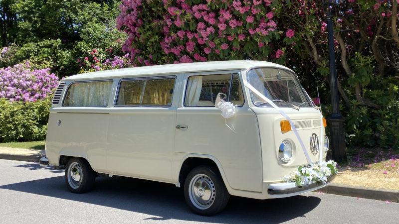 Volkswagen Bay Window Campervan wedding car for hire in Bracknell, Berkshire