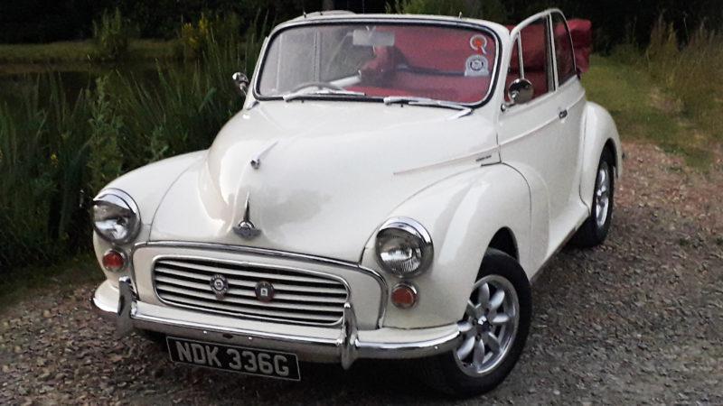 Morris Minor 1000 Convertible wedding car for hire in Bideford, Devon